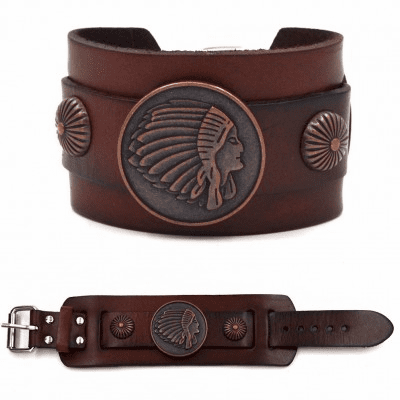 Copper Indian head Leather Bracelet Brown