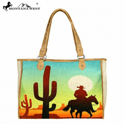 Cowboy Wild West Painting Canvas Tote Bag