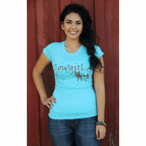 Cowgirl Burnout Tee Blue Original Cowgirl Clothing Co