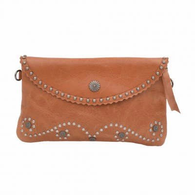 Cowgirl Studded Leather Clutch - Brown