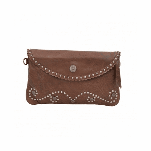 Cowgirl Studded Leather Clutch - Coffee