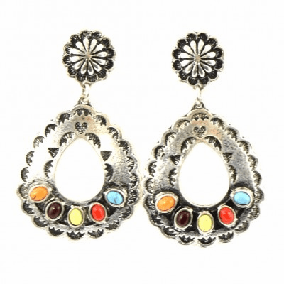 Cowgirl Tear Drop Earrings - Multi Color