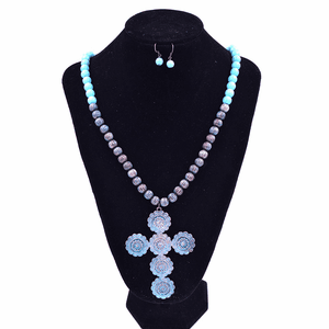 Cross Necklace Earring Set Turquoise