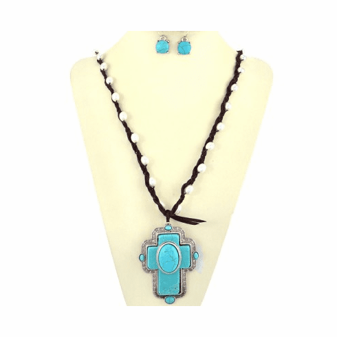 Cross With Turquoise Stone Decorated With Thread Chain Necklace Set-Brown