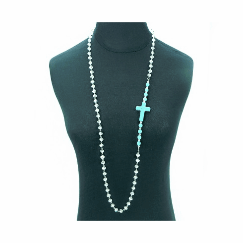 Crystal Beads Chain Necklace With Sideway TQ Cross & Beads Necklace