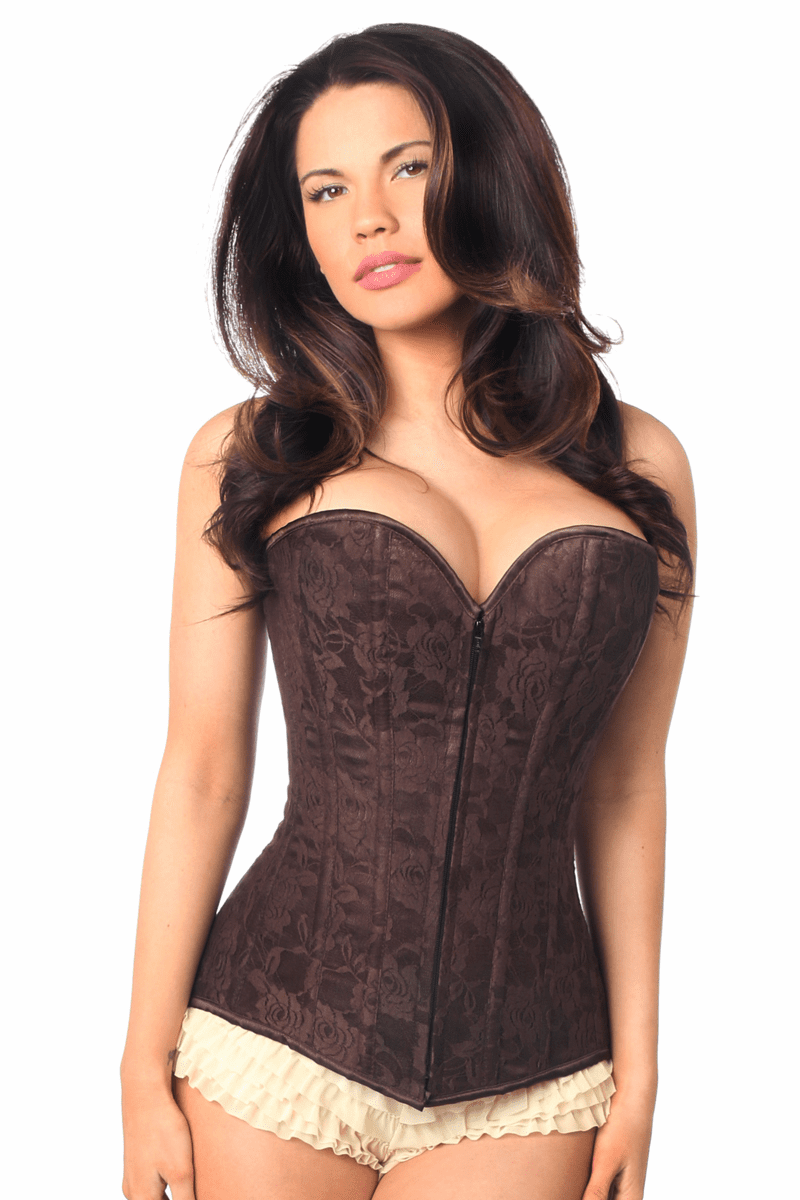 Daisy Lavish Dark Brown Lace Overbust Corset w/Zipper Brown Reg/Plus Size