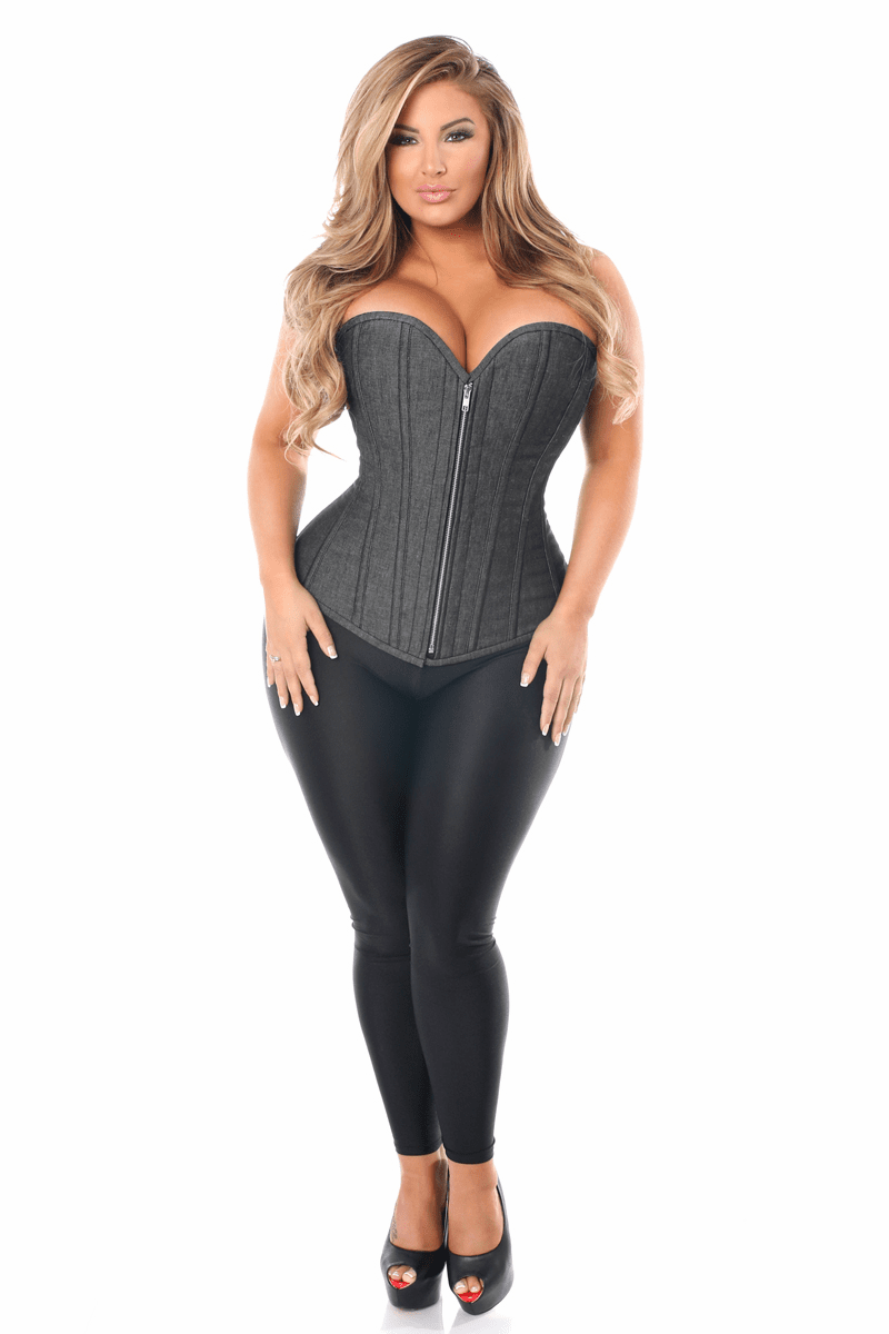 DaisyTop Drawer Denim Black Steel Boned Overbust Corset w/Zipper Reg/Plus Size