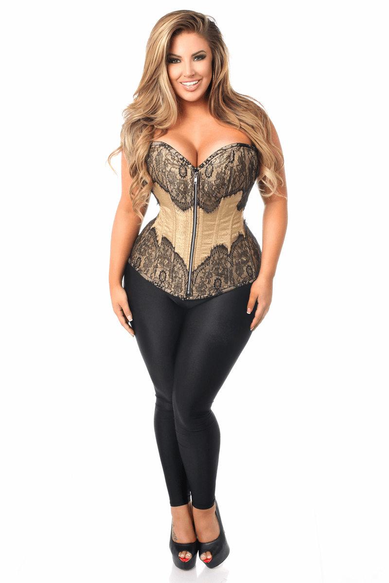 DaisyTop Drawer Tan Brocade Steel Boned Corset w/Black Eyelash Lace