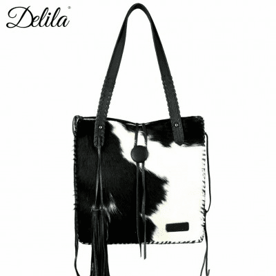 Delila 100% Genuine Leather Hair-On Hide Bag Black