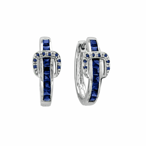 Elegant Buckle Earrings - Sapphire Crystals