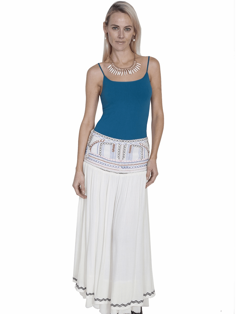 Embroidered Front Panel Long Skirt - Natural