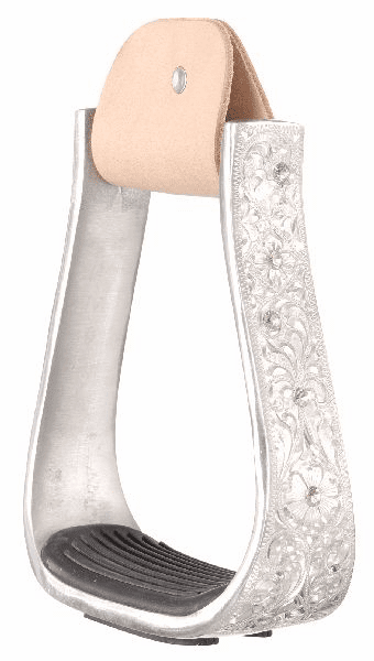 Engraved Aluminum Stirrups with Crystals - 57-91050-0-0
