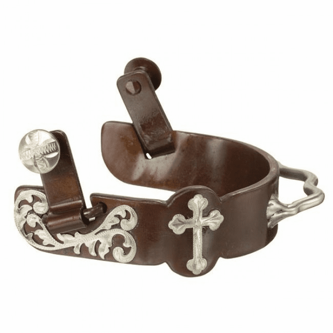 Floral and Cross Bumper Spur - Antique Brown
