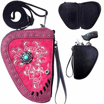 Floral Concho Crossbody Gun Holster Shaped Conceal Carry Pouch-Hot Pink