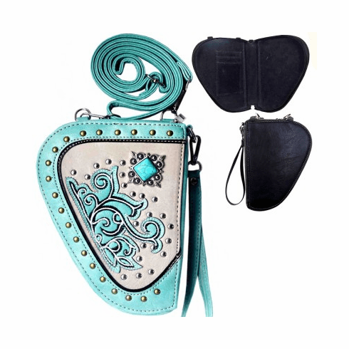 Floral Concho Crossbody Gun Holster Shaped Conceal Carry Pouch-Turquoise