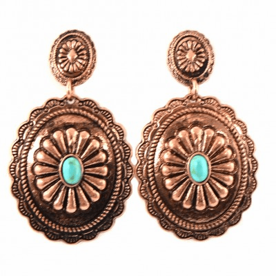 Floral Concho Earrings Bronze Turquoise