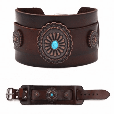 Flower Concho with Turquoise - Copper/Brown