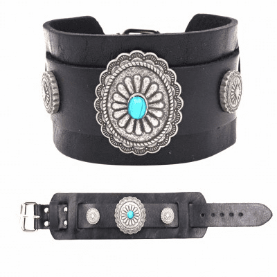 Flower Concho with Turquoise - Silver/Black
