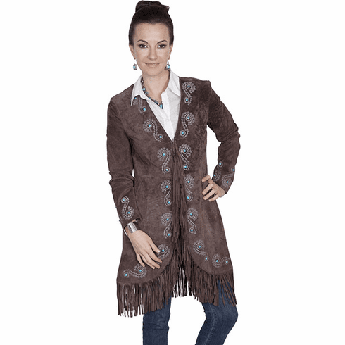 Fringe Embroidered Suede Coat