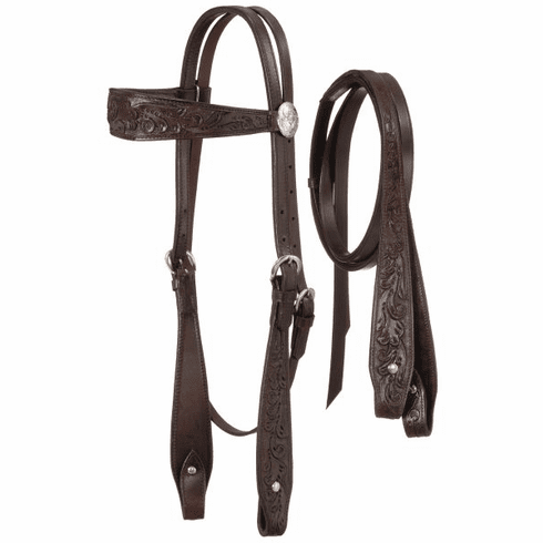 Fully Carved Brow Headstall with Reins - Dark Oiled