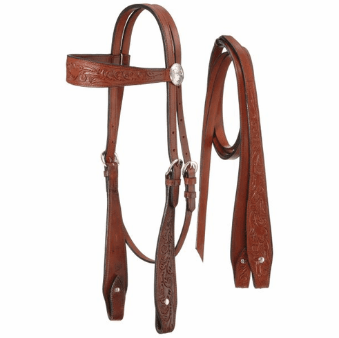 Fully Carved Brow Headstall with Reins - Light Chestnut