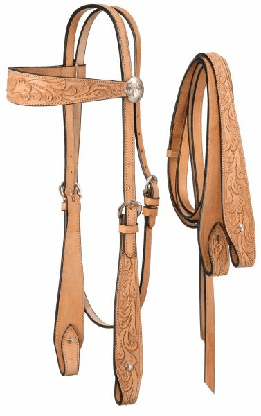 Fully Carved Brow Headstall with Reins -  Light Oiled