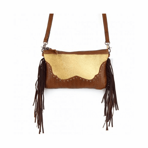 Genuine Leather Cow Hide Tooling Fringe Western Crossbody Bag-Coffee