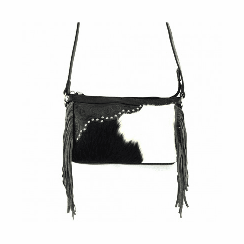Genuine Leather Cow Hide Tooling Western Crossbody Bag - Black