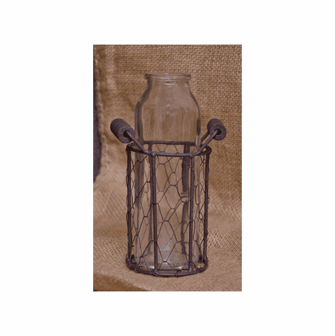 Glass Jar in Metal Basket