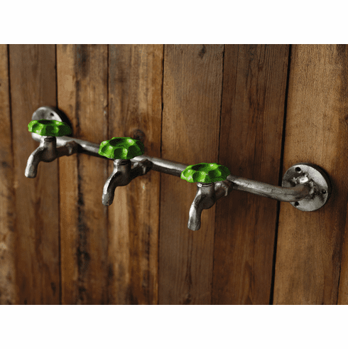 Green Faucet Triple Wall Hook Rack