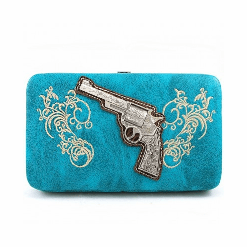 Gun Western Embroidery Wallet - Turquoise