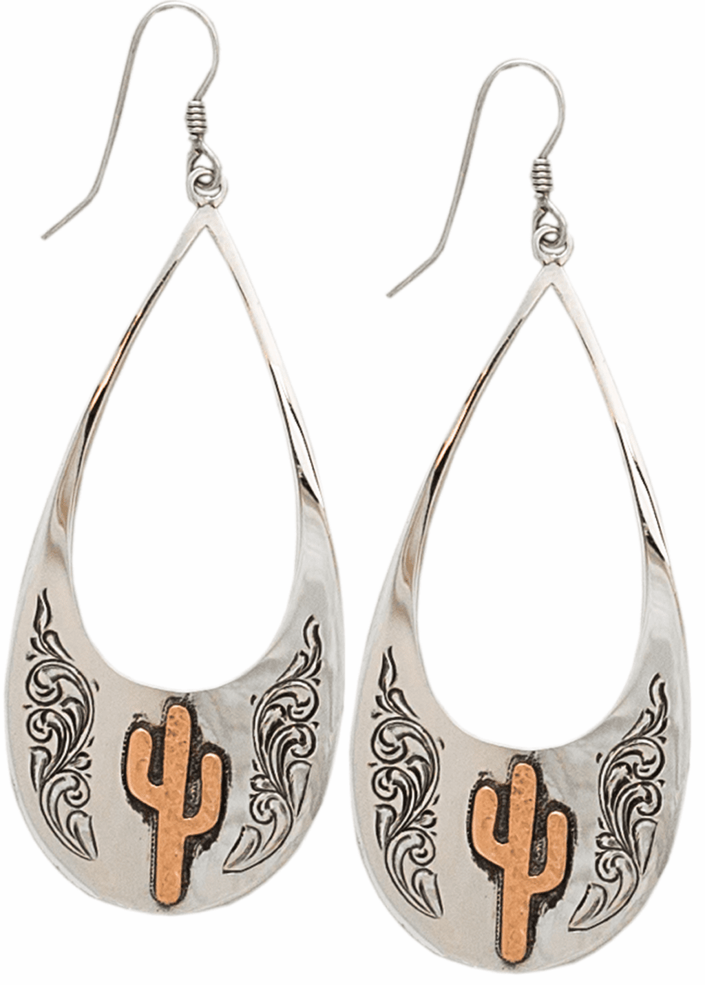 HAND ENGRAVED STERLING SILVER OPEN TEARDROPS WITH COPPER CACTUS