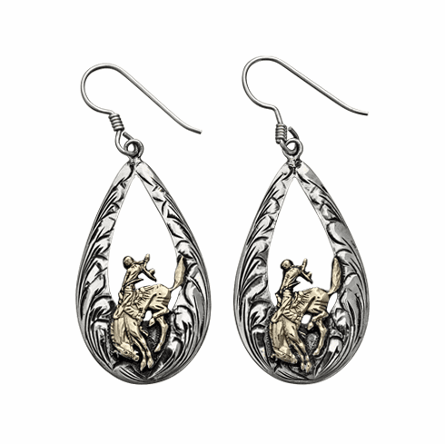 HAND ENGRAVED TEARDROPS WITH GOLD BRONC EARRINGS