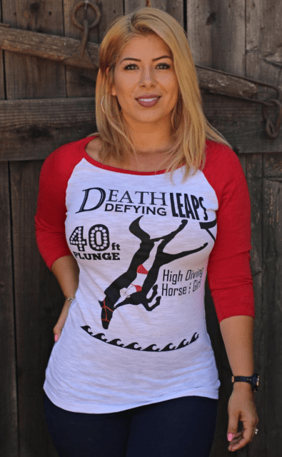 High Diving Horse & Girl Baseball  Red