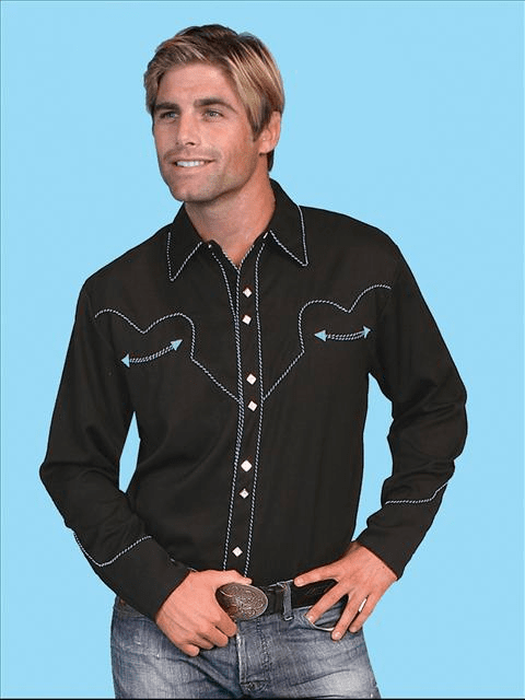 Johnny Black Long Sleeve Western Shirt w/Turquoise
