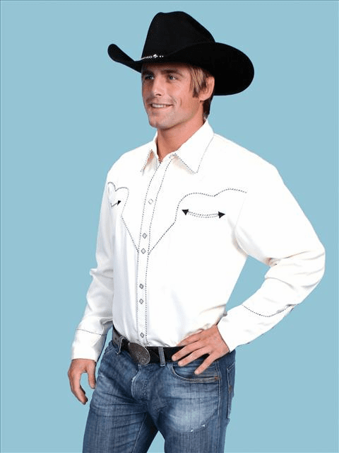 Johnny Black Long Sleeve Western Shirt White w/Black