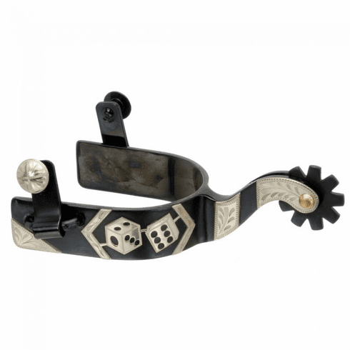 Kelly Silver Star Spur with Pair of Dice Design - Black Steel