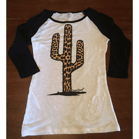 Leopard Cactus Baseball  Jr Black Sleeve