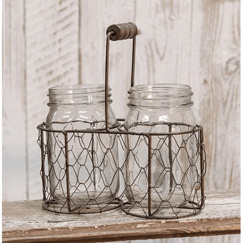 Mason Jars in Chicken Wire Basket