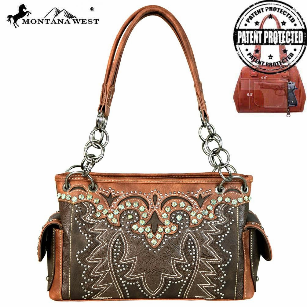 Montana Tooled Collection Concealed Handgun Satchel Coffee