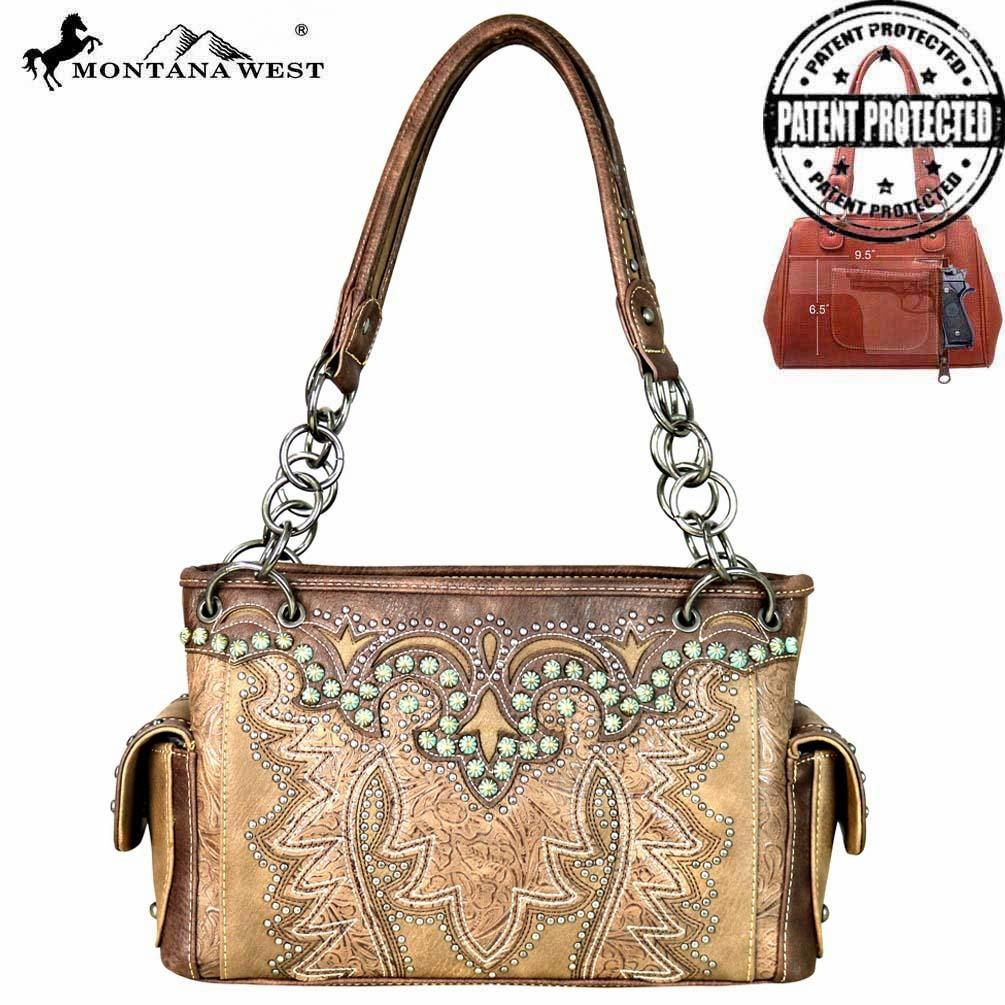 Montana Tooled Collection Concealed Handgun Satchel Khaki