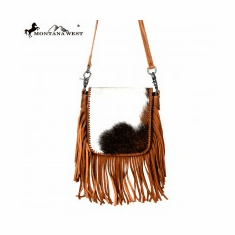 Montana West 100% Real Leather Hair-On Crossbody Brown