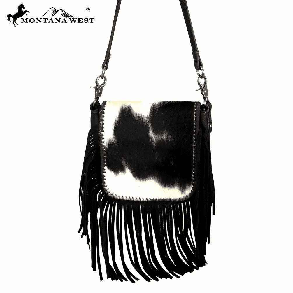 Montana West 100% Real Leather Hair-On Crossbody Coffee