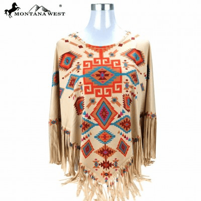 Montana West Aztec Collection Poncho o/s