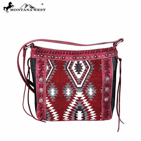 Montana West Aztec Denim Collection Crossbody Bag Red