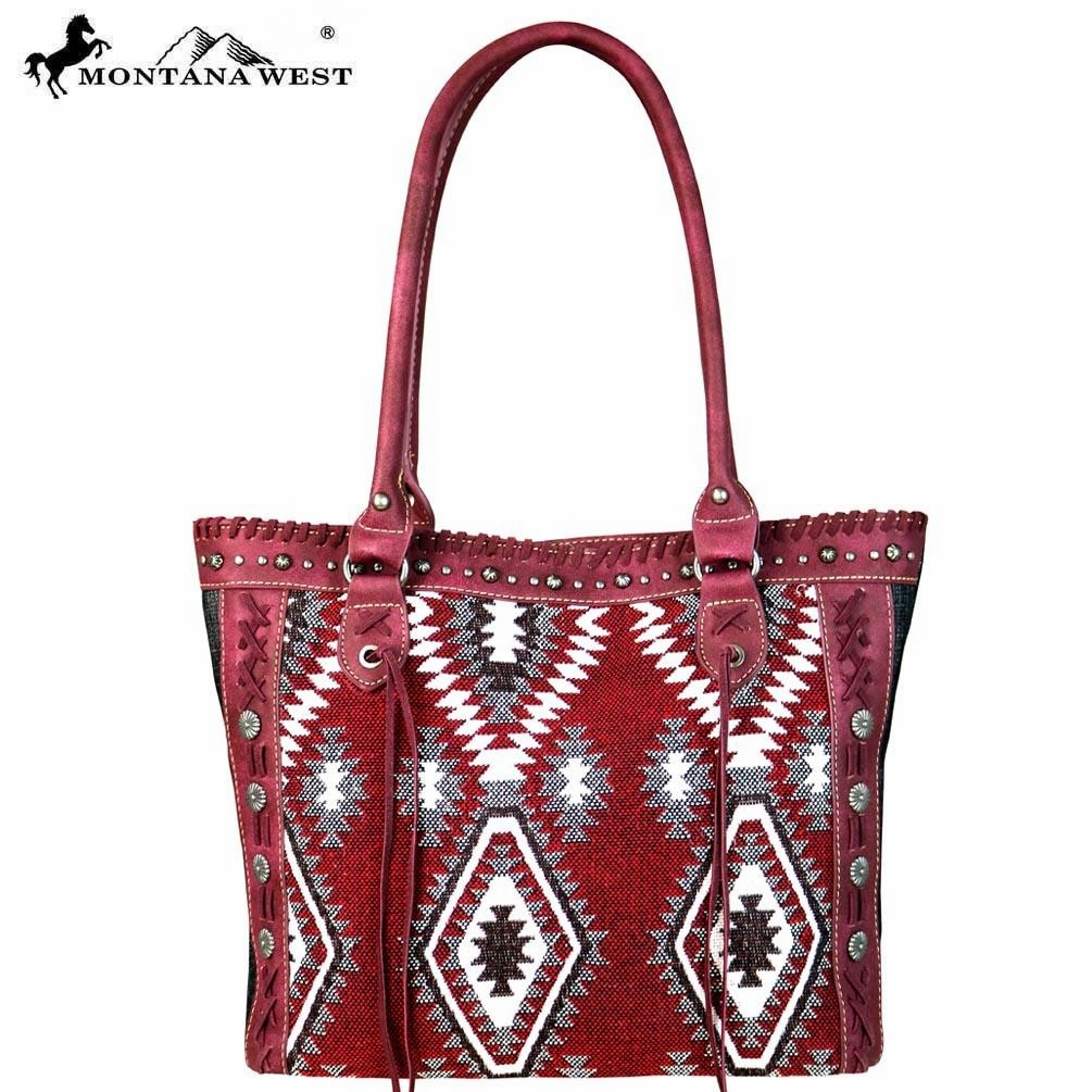 Montana West Aztec Denim Collection Tote Bag