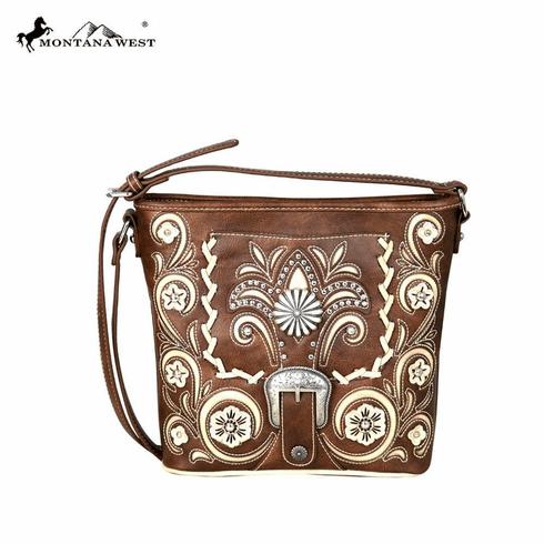 Montana West Concho Belt-Buckle Collection Crossbody Bag Brown