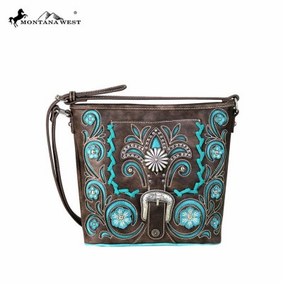 Montana West Concho Belt-Buckle Collection Crossbody Bag Coffee