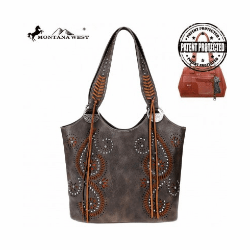 Montana West Cut-Out Collection Concealed Carry Tote Bag Coffee