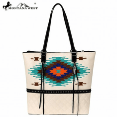 Montana West Embroidered Collection Tote Beige